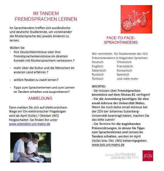 Sprachtandem: Flyer downloaden